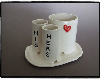 His and Hers Toothbrush and Toothpaste Holder with Heart and Plate-Great Wedding Gift