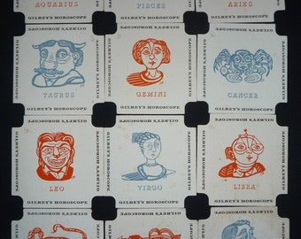 Edward Bawden Design Horoscope Coasters / Beer Mats for Gilbey's Gin 1954