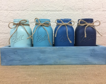 Salty Dog Blue Painted Quart Mason Jar  Planter Box  Centerpiece