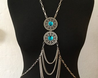 Bodynecklace / body in Blue Crystal Necklace / mandala blue long necklace