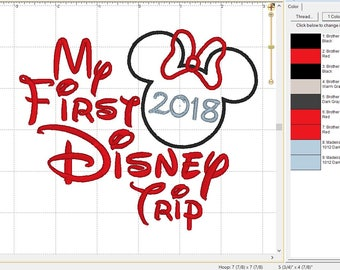 "Minnie Mouse Disney World Disneyland ""2018 My First Disney Trip"" Embroidery Applique Design Pattern- INSTANT DOWNLOAD 4x4 5x7 and 6x10 Sizes"