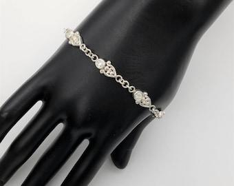 "Vintage Aurora Borealis Rhinestone & Sterling Silver Link Bracelet - 7.5 - 8"", Adjustable"