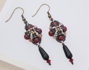 Edgy Jewelry Gothic Glam Punk Jewelry Crystal Earrings Seed Bead Earrings Game of Thrones Vampire Burgundy Medieval Spike Earrings