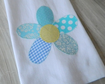 Dish Towel with a blue patchwork flower applique