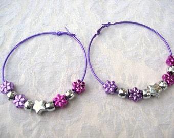 Purple  Hoops Earrings, / Aqua Hoop Earrings / 2 colors / listing for 1 / Women / women's  jewelry /  jewelry / round earrings / hoops