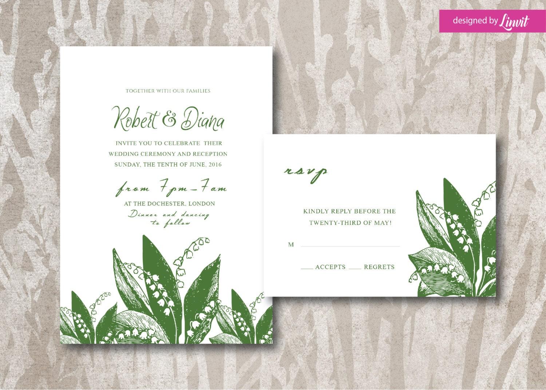 Lily of the valley wedding Invitation-Digital wedding
