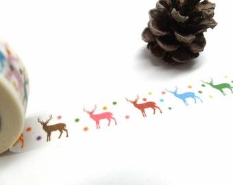 Reindeer Washi Tape - Colorful Reindeer - Winter Washi Tape