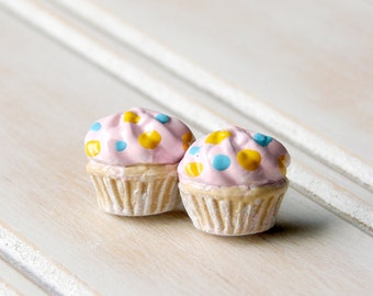 Miniature Food Jewelry Cupcake Stud Earrings - Light Pink Frosted Cupcakes with Golden Yellow and Baby Blue Sprinkles