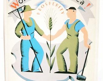 WPA Postcard, Vintage Postcard, Putting Americans Back to Work, Vera Block Silkscreen Poster, Never Used, Prosperity