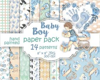 Baby boy paper pack. Watercolor baby digital paper. Baby patterns blue green. Paper pack watercolor baby boy. Cute baby watercolor.