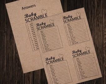 Rustic Look Baby Scramble-Print your own PDF