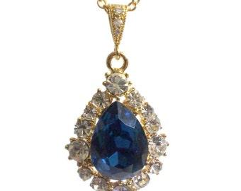 Navy Blue Bridal Necklace, Something Blue Bridesmaid Necklace, Teardrop Bridal Jewelry, Crystal Bridesmaid Gift, Blue Gold Necklace, BIJOUX