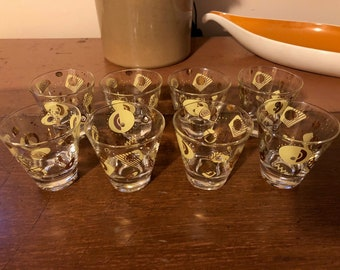 Set of Eight Vintage, MId Century Atomic Shot Glasses