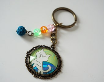 Cute cat keychain for girls White cat key chain for keys Kitty cat keyring Childrens key chain Cat key ring Cat lover gift for Kids keychain