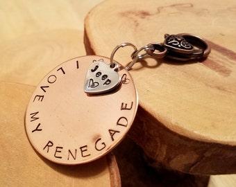 RENEGADE Jeep Legacy line hand stamped copper keyfob keychain OIIIIIIIO