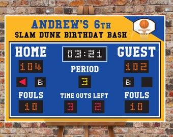 "Basketball Scoreboard Printable 24""x36"" Poster - Scoreboard Sign, Basketball Birthday,Self-Editing Text | INSTANT Download DIY Printable PDF"