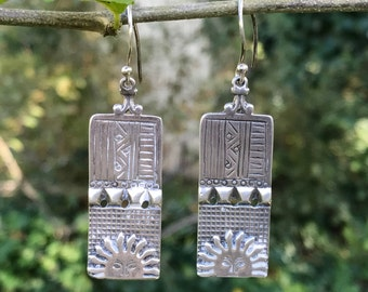 Vintage Cast Sterling Drop Earrings Sun Face