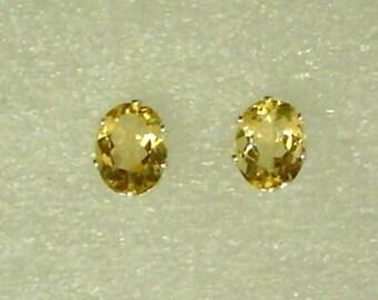 8x6mm Yellow Citrine Gemstones in 925 Sterling Silver Stud Earrings  SnapsByAnthony November Birthstone