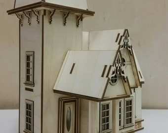 "Diy laser cut DOLLHOUSE kit Victorian Cottage  1/48"" quarter inch scale miniature  New"