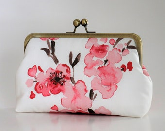 Cherry Blossom Clutch,Bridal Accessories,Bridal Clutch,Bridesmaid Clutch,Floral Clutch,Wedding Clutch