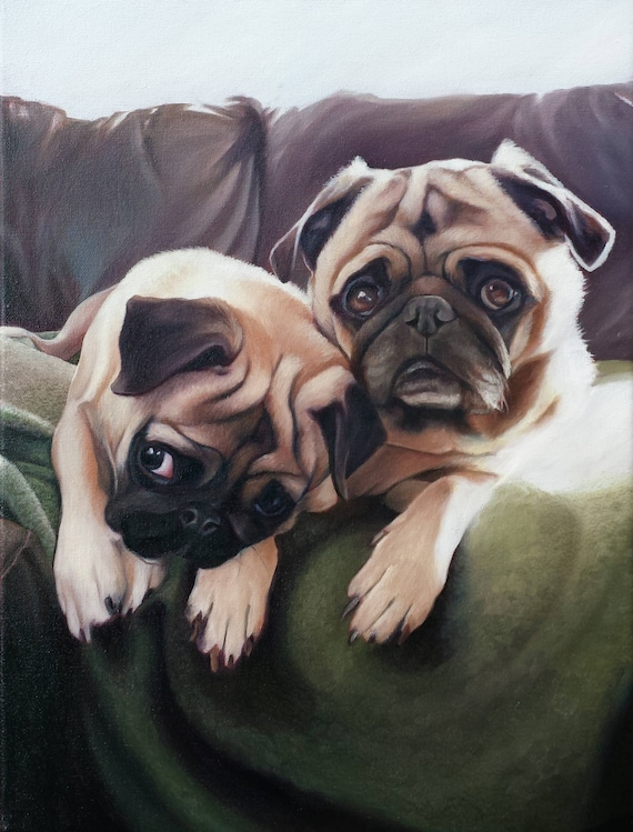 Custom Pet Portrait - CUSTOM PET Painting - Portrait Oil Painting - Dog Portrait - PUGS