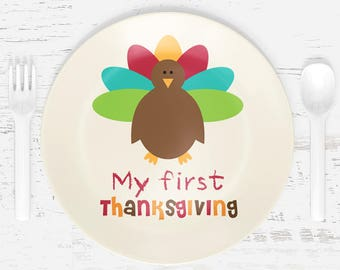 First Thanksgiving Plate - Turkey Plate - Child's Plate - Child's Bowl - Plastic Plate Bowl Placemat Mug - Tableware Set