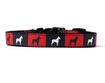 5/8 ou 3/4 pouce large collier de chien avec boucle réglable ou Martingale en boxeurs dans un Design exclusif des boîtes