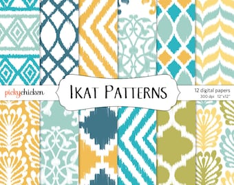 Ikat Digital Paper - tribal ethnic patterns yellow blue teal green photography backdrop Instant Download 8039