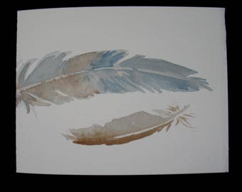 Two Grey Feathers Watercolor Note Card, Handmade, Hand Painted, Blank Card
