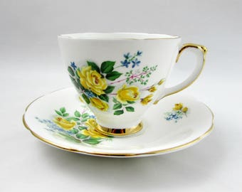 Vintage Tea Cup and Saucer by Delphine with Yellow Roses, English Bone China