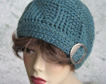 Crochet Hat Pattern Womens Textured Pattern In Teal Wool Yarn With Buckle Trim Womens And Teen Sizing 21- 23 Inch Instant Download