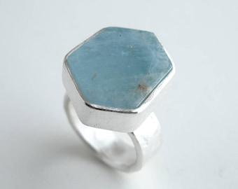 Aquamarine Ring Sterling Silver With Natural Hexagonal Aquamarine Aquamarine Crystal Jewelry