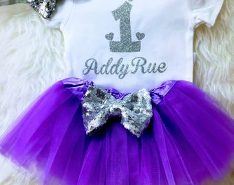 Lavender & silver birthday,One year old outfit 1st birthday outfit Baby girl 1st birthday princess