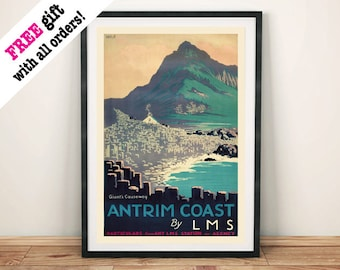 GIANTS CAUSEWAY POSTER: Vintage Antrim Northern Ireland Travel Advert, Art Print