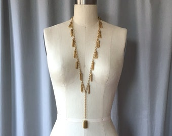 Vintage 1960s Gold Tone Multi Tassel & Fringe Long Necklace