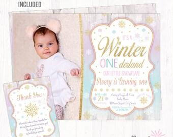 Winter Onederland Invitation , Winter Birthday Invitation, Christmas Birthday Invitation, Winter Onederland Party