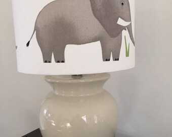 Mum and Baby Elephants 30cm Lamp Shade in White