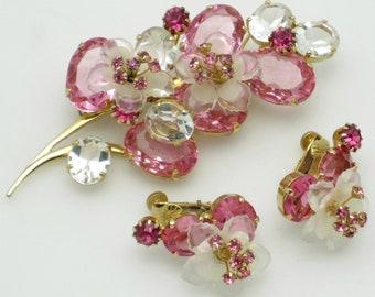Vintage VENDOME Pink Floral Figural Brooch Earring SET Crystal Rhinestone Glass