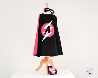 Girl's Superhero Outfit, Cape, Mask & Cuff Set, LIGHTNING BOLT DESIGN | Supergirl Children Costume with specially designed initial in logo