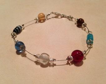 Multicolored beaded wire bracelet