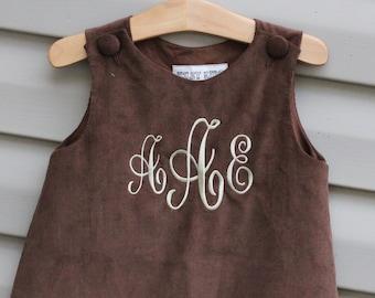 Girls Monogrammed Brown Corduroy Jumper Dress