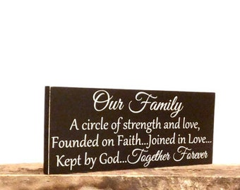 Wooden Family Sign, Family Sign Home Decor, Our Family A Circle Of Strength, Rustic Wall Hanging For Home
