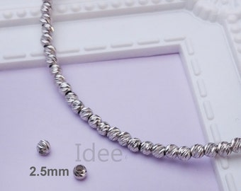 2.5mm silver Italy diamond cut beads, Solid 925 Sterling Silver with Rhodium plated for Anti Tarnish. F31
