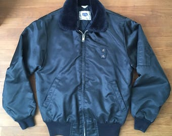 Vintage Navy Blue Bomber Jacket / Police / Security / Military / Size S / Quilted / Insulated