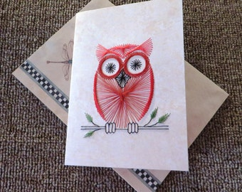 Owl business card etsy hand stitched owl on a branch note card colourmoves