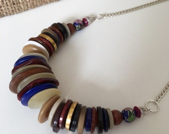 Vintage Button statement necklace - Purple, blue, gold and brown button necklace - Summer jewellery - gifts for women - One of a kind