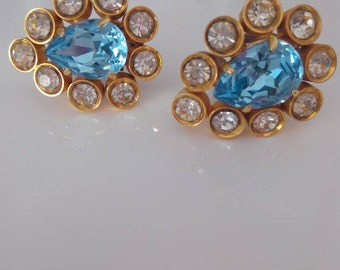Antique earrings with blue crystals and Swarovski
