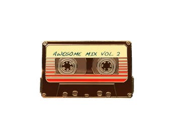 "Awesome Mix Vol 2 - 1.5"" Enamel Lapel Pin  - Guardians of the Galaxy Inspired - Cassette Tape/Mix Tape - Brown & Gold"