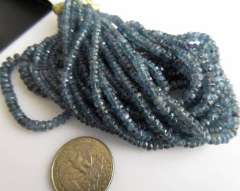 Multi Strand Teal Blue Moss Kyanite Necklace, Blue Kyanite Faceted Rondelle Beads,  3mm To 6mm Beads, GDS896