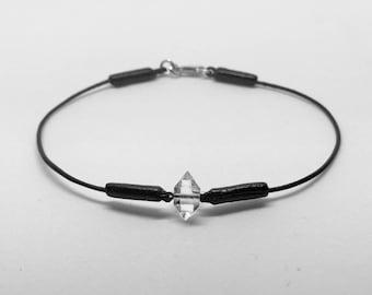 NY Herkimer Diamond Quartz Leather Bracelet